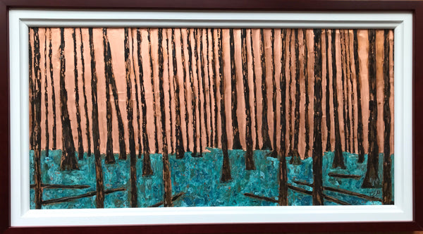 The Pine Forest - copper art 15 x 27 by Cathie Hamilton - Martello Alley