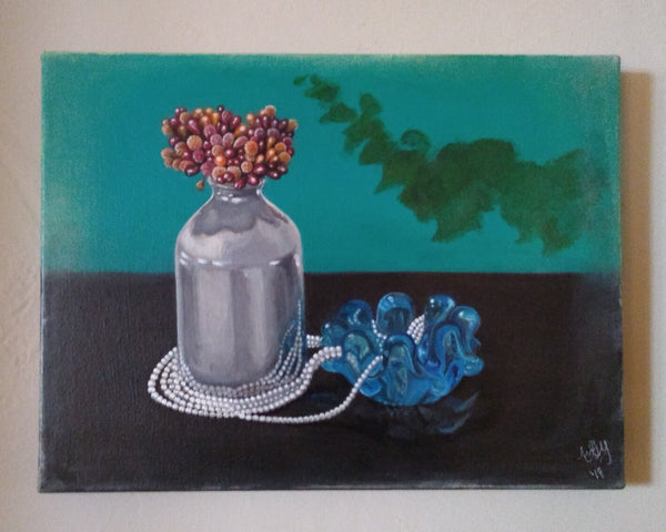 "Teal Still Life - 12"" x 9 "" - Painting by Erica Young - Martello Alley"