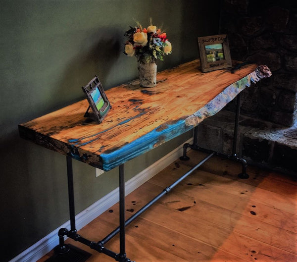 Spalted Maple Table with Gas Pipe Base by James Thompson (Timber by Tucker) - table by Timber by Tucker -James Thompson - Martello Alley