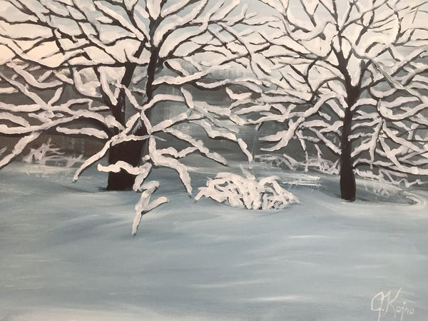 Twins with Snow - Original Julie Kojro