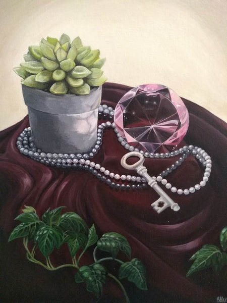"Key, Gem & Plant Still Life - 16"" x 20"" - Painting by Erica Young - Martello Alley"