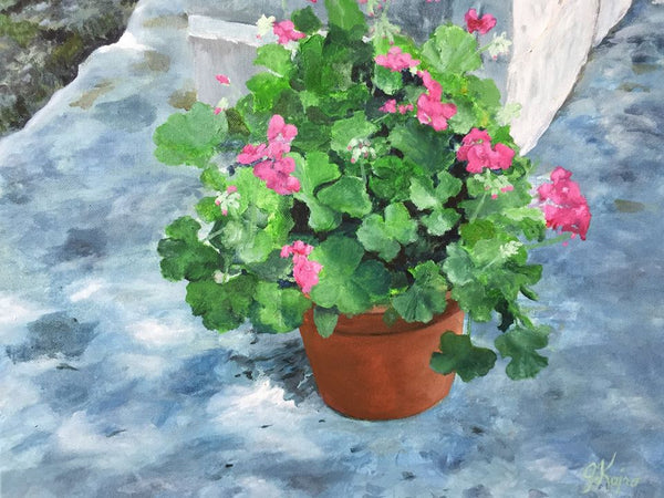 Geraniums and Shadows - Original Julie Kojro