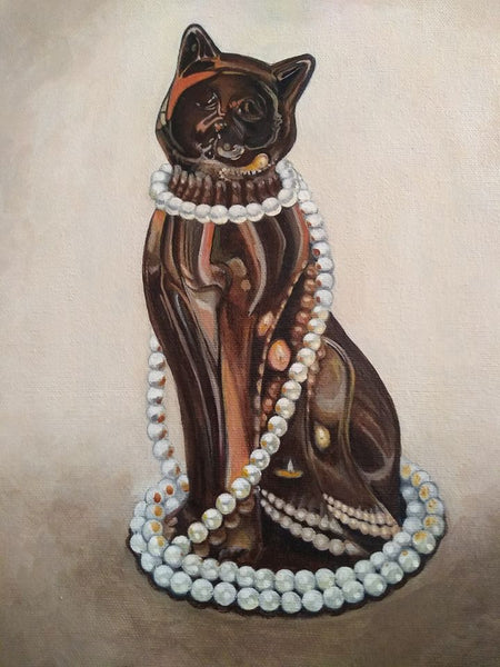 "Copper Cat with Pearls - 12"" x 10"" - Painting by Erica Young - Martello Alley"