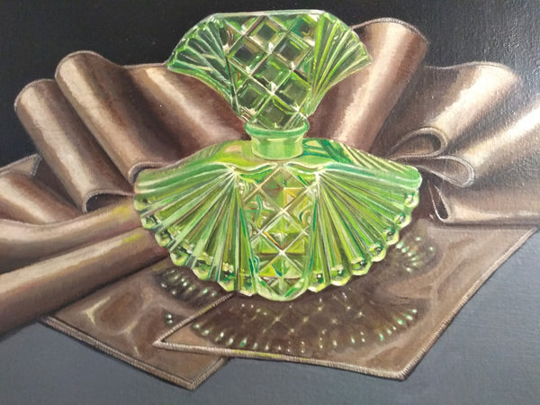 "Green Bottle on Silk - 12"" x 10"" - Painting by Erica Young - Martello Alley"