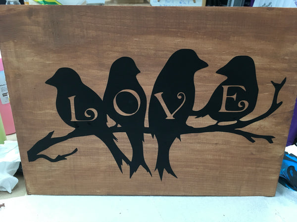 Board Art- Love Birds