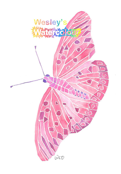 Watercolour Greeting Card of Pink Butterfly