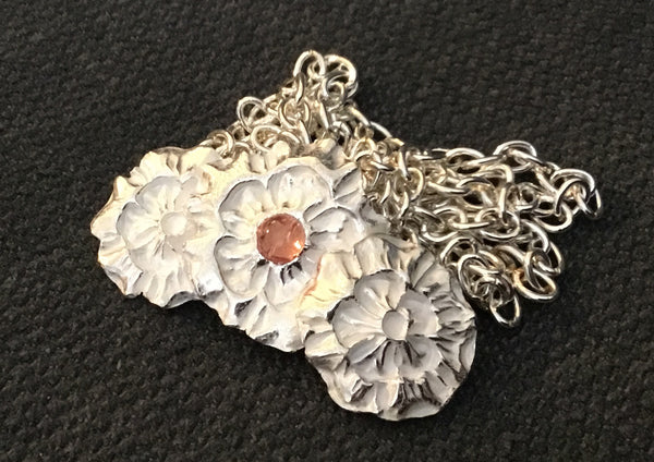LW 002P Trio of Blooms Pure Silver - Pendant Silver by Leslie Welfare - Martello Alley