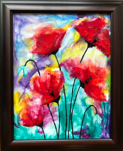 Proud Poppies 1 - encaustic 12 x 15 by Cathie Hamilton - Martello Alley