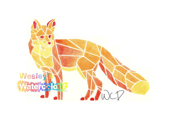 Watercolour Greeting Card of Red Fox
