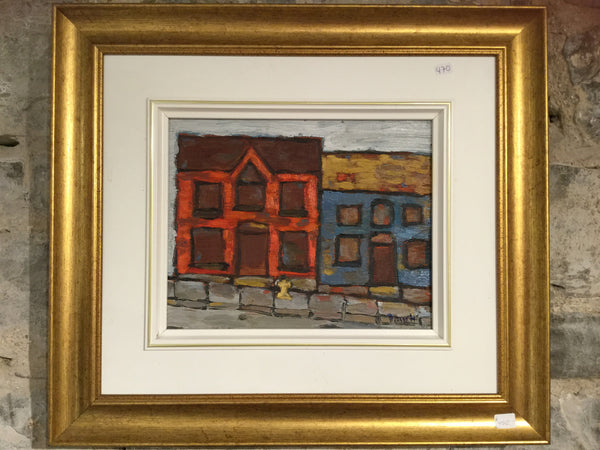 Houses in Portsmouth - 8x10 oil painting by David Dossett - Martello Alley