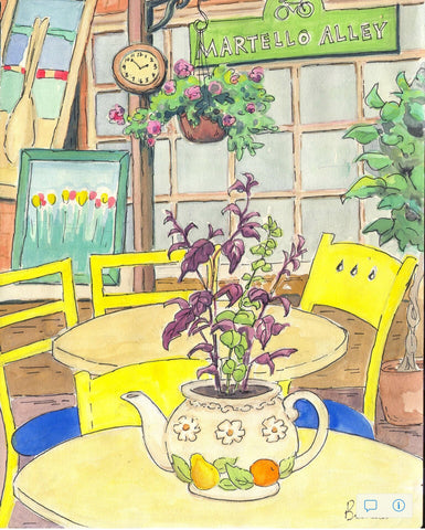 Tea Room large print - Print by Brenda Bielicki - Martello Alley