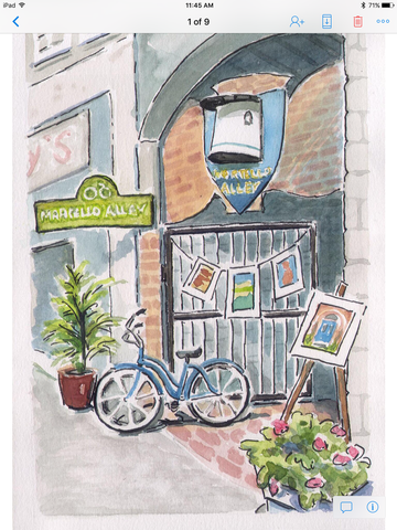 Alley Entrance 1 large card - Print by Brenda Bielicki - Martello Alley