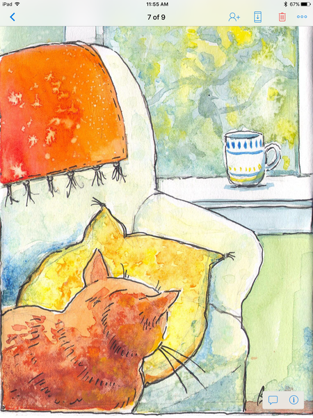 "Orange cat ""where's the bird"" large print - Print by Brenda Bielicki - Martello Alley"