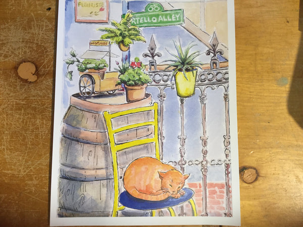 Sleeping Cat, Martello Alley large print - Print by Brenda Bielicki - Martello Alley