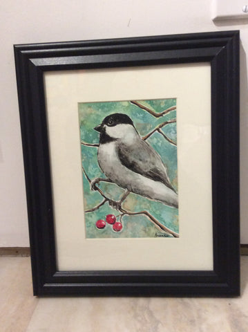 Chickadee - Watercolour original by Brenda Bielicki - Martello Alley