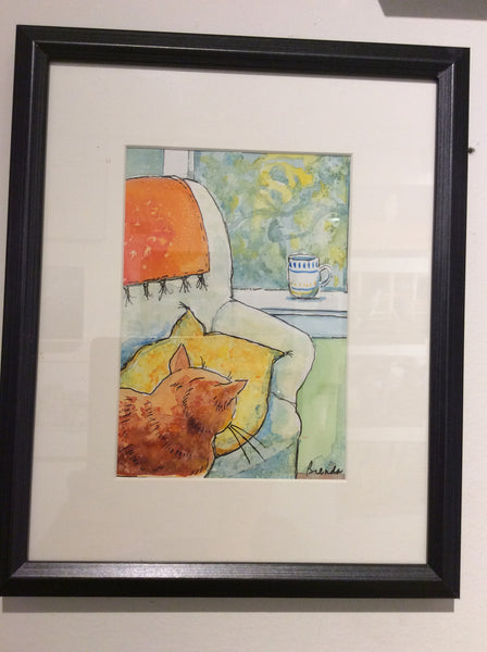 Orange Cat: Where's the Bird? 1. - Watercolour original by Brenda Bielicki - Martello Alley