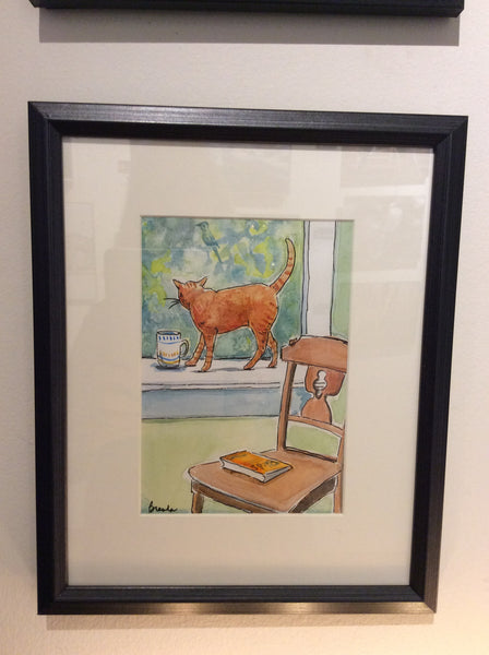 Orange Cat: Where's the Bird? 2. Original - Watercolour original by Brenda Bielicki - Martello Alley