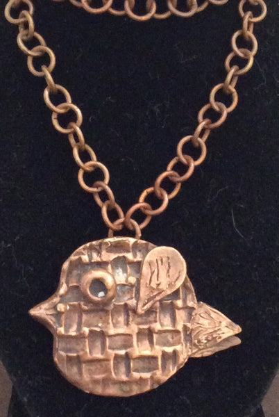 LWN 17  copper funky bird necklace