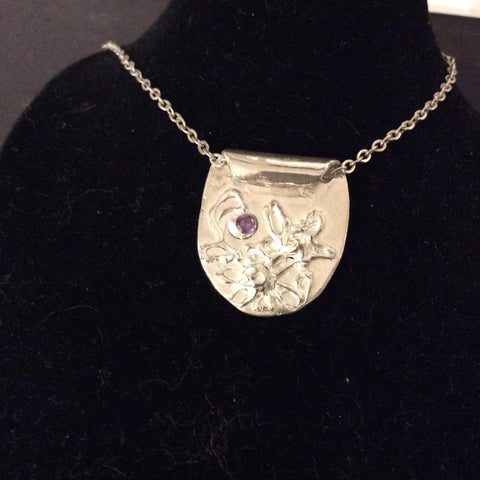 Fine Silver Flower with Amethyst CZ - Jewellery by Leslie Welfare - Martello Alley