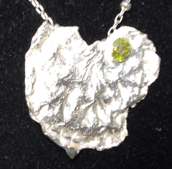 Fine Silver cubic zirconium Olivine - Jewelery by Leslie Welfare - Martello Alley