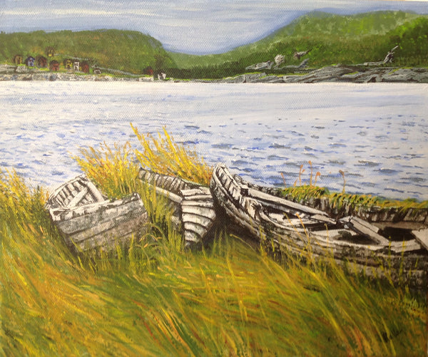 Carbonear's Bones - 13 x 15 acrylic painting by Lori Kallay - Martello Alley