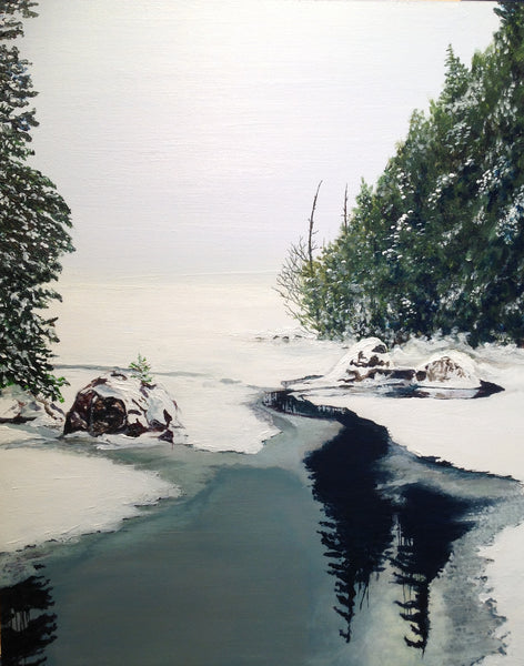 "The Narrows in Winter - 12"" x 9"" acrylic on birch panel by Lori Kallay - Martello Alley"