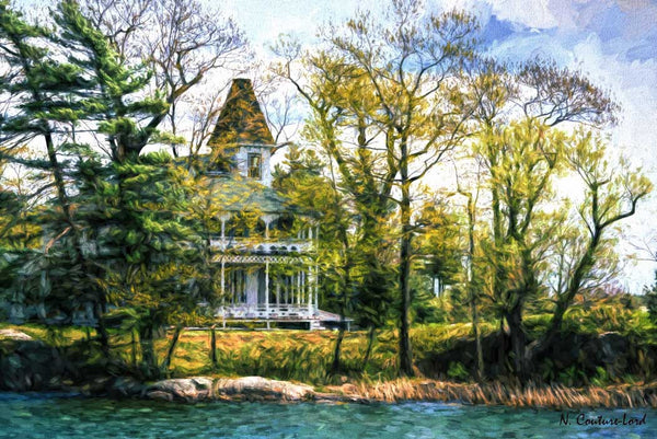 Impressive home on the lake - 20 x 16 inches - 20 x 16 inches canvas prints by Nicole Couture-Lord - Martello Alley