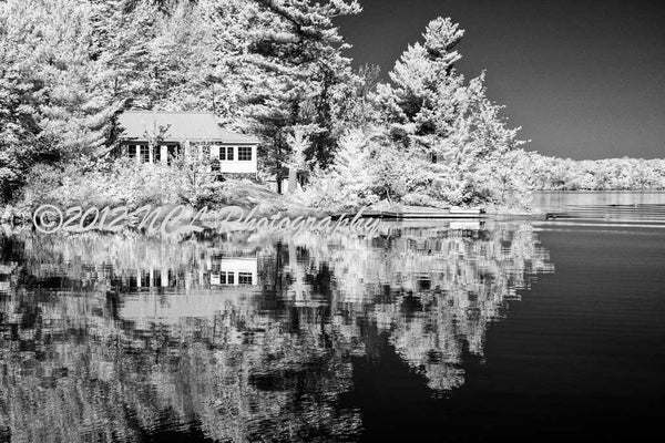 Cottage reflection - framed infrared print - 20 x 16 framed infrared print by Nicole Couture-Lord - Martello Alley