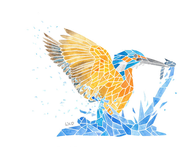 Watercolour Painting of Splashing Kingfisher with Fish (original)