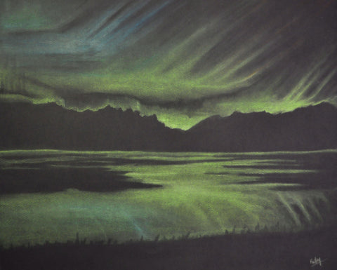 """Northern Dancing Sky"" 16"" x 20"" Original Pastel ~ Framed - Original Pastel by Lori Kallay - Martello Alley"