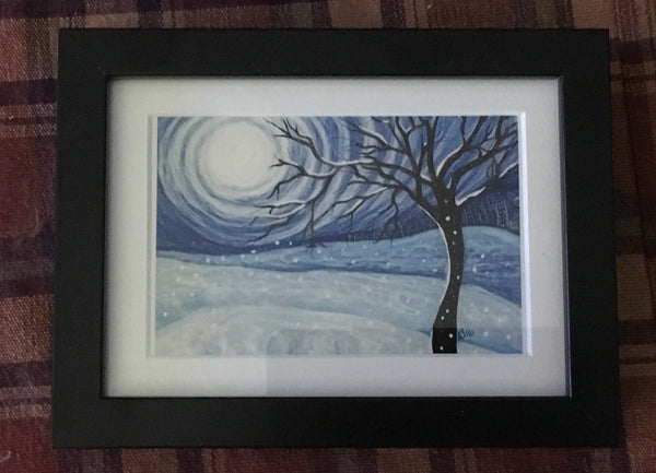 Whimsical winter - 5x7 framed digital drawing by Annette Bruneau - Martello Alley