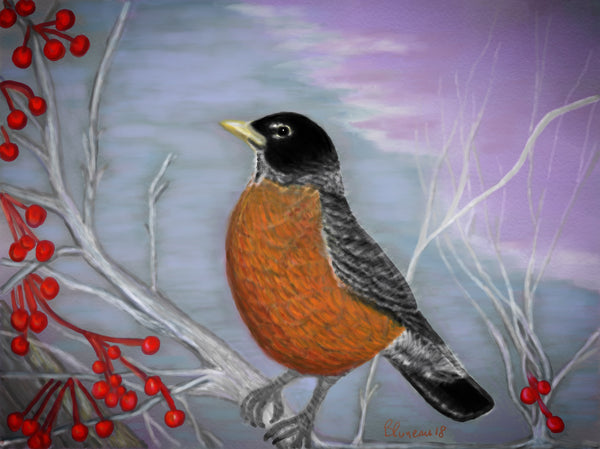 Red Red Robin - 8x10 digital print by Annette Bruneau - Martello Alley