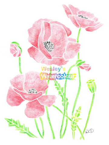 Watercolour Greeting Card of Poppies