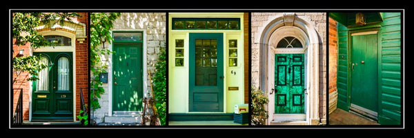 Poster with frame - green doors of Kingston 36 x 12 inches - Photos by Nicole Couture-Lord - Martello Alley