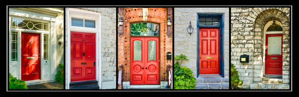 Poster with frame - red doors of Kingston 36 x 12 inches - Photos by Nicole Couture-Lord - Martello Alley
