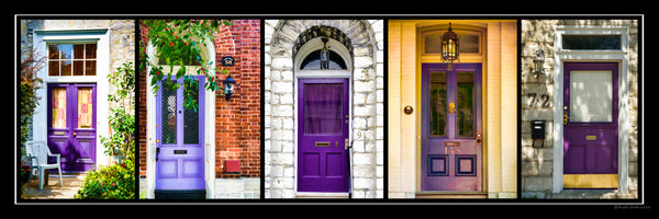 Poster - purple doors of Kingston 36 x 12 inches - Photos by Nicole Couture-Lord - Martello Alley