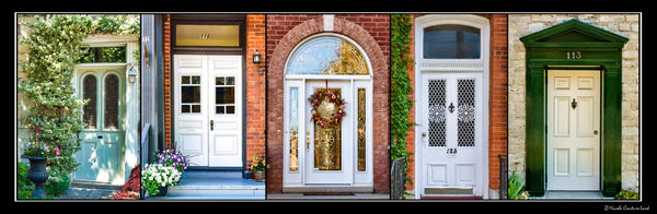 Poster with frame - white doors of Kingston 36 x 12 inches - Photos by Nicole Couture-Lord - Martello Alley