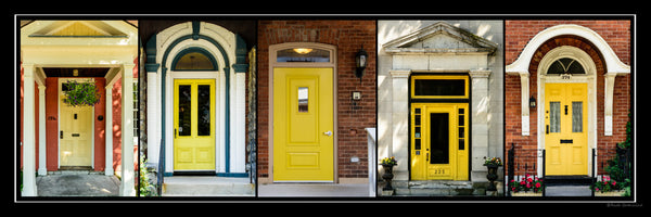 Poster with frame - yellow doors of Kingston 36 x 12 inches - Photos by Nicole Couture-Lord - Martello Alley