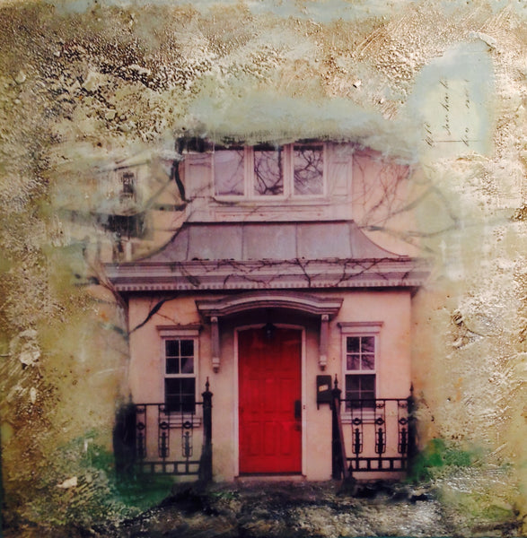 Bricks and Stones Kingston Red Door #1 - Encaustic by Meg Muirhead - Martello Alley