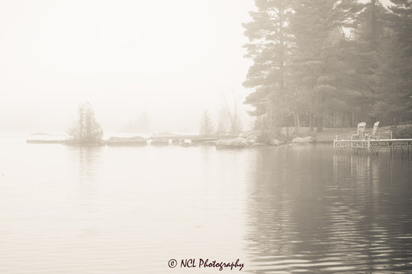 Foggy sunrise at the cottage - print 12 x 8 inches - 12 x 8 inches by Nicole Couture-Lord - Martello Alley