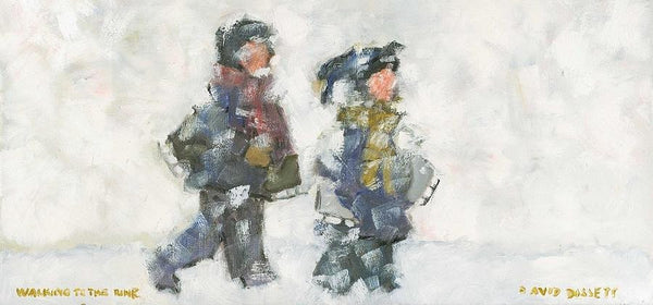 Walking to the Rink - small card - Greeting card by David Dossett - Martello Alley