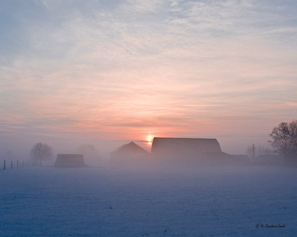 Winter sunrise on farm - print 8x10 - 8.5x11 inches prints by Nicole Couture-Lord - Martello Alley