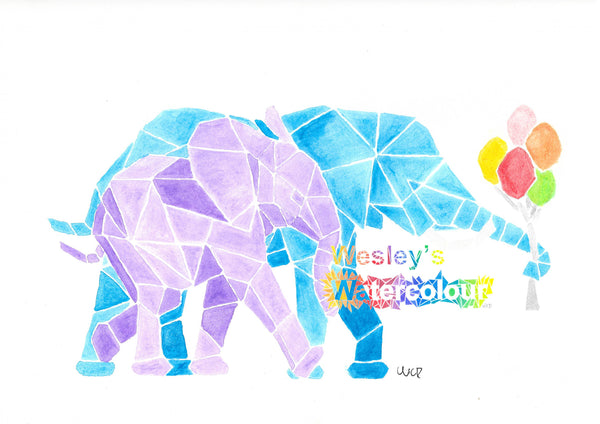 Watercolour Print of Two Elephants