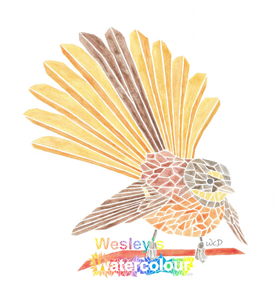 Watercolour Greeting Card of New Zealand Fantail (open tail)