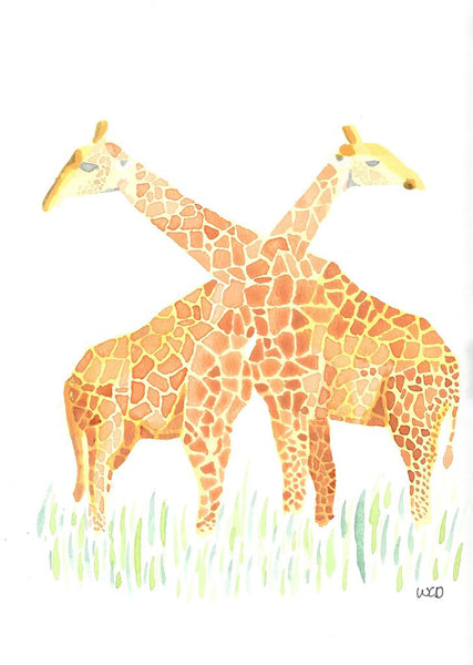 Giraffes Card - Wesley's Watercolour - Greeting card by Wesley Dossett - Martello Alley