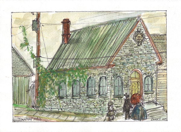 Township Hall - Print by David Dossett - Martello Alley