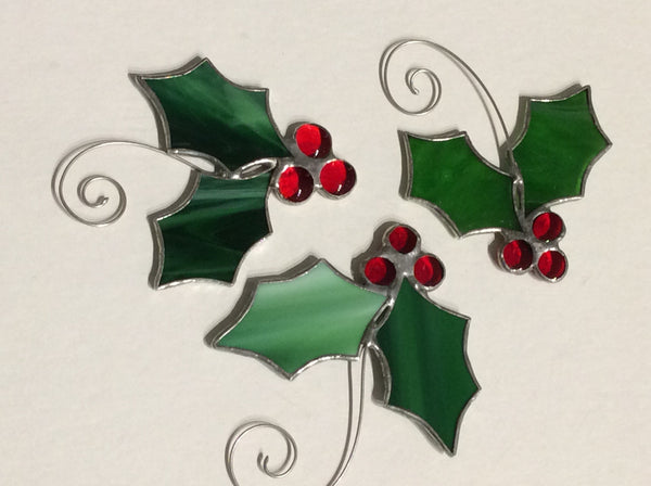 Our Cottage Glass:  Stained Glass Holly Ornament