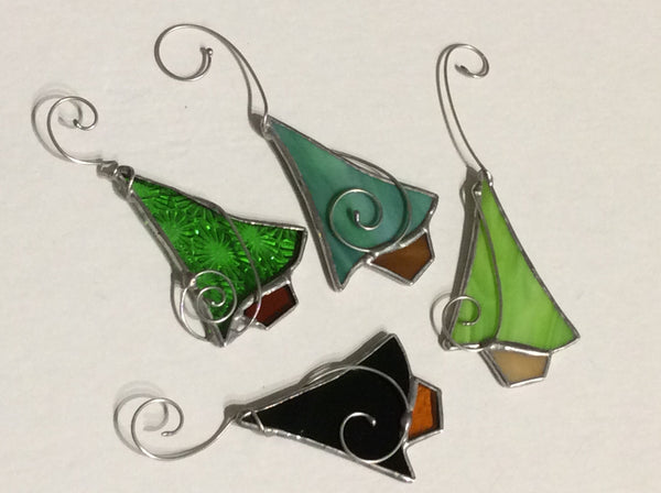 Our Cottage Glass:  Stained Glass Tree Ornament