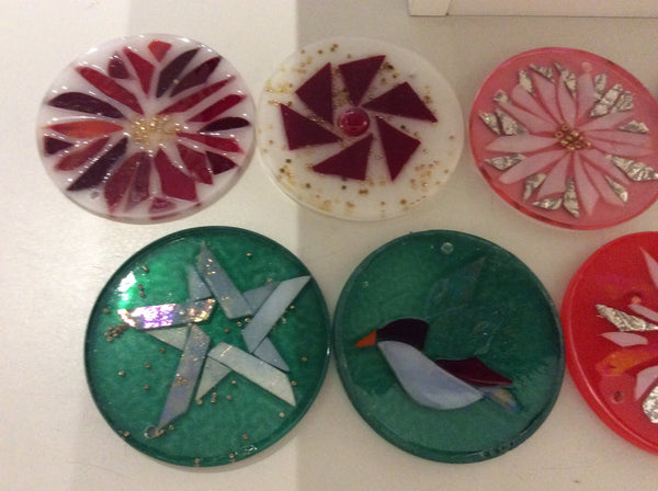 Ornament / Coaster of glass mosaic Christmas