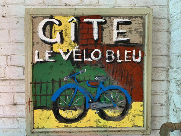 Gite le Vélo Bleu - painted screen - Painting by David Dossett - Martello Alley